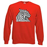 Tiger Sweatshirt, Fleecy lined, set in sleeves, Red, Large