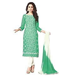 PShopee Light Green Embroidered Unstitched Multistylist Dress Material