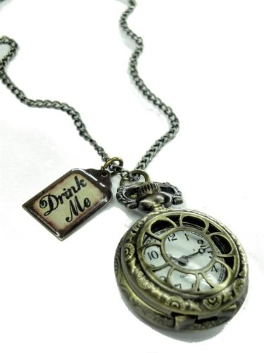 Alice in Wonderland Drink Me Pocket Watch Necklace D