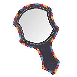 A&E Kutch Dazzling Leather Traditional Hand Ethnic Kutch Ainas Mirror, Black