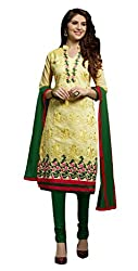 Suchi Fashion Yellow & Green Embroidered Chanderi Dress Material
