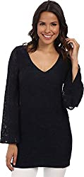 Chaser Women's Oval Cutout Bell Sleeve Top