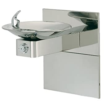 """Haws 1011HPSMS Dual High Polished 18 Gauge 304 Stainless Steel """"Hi-Lo"""" Barrier-Free Wall Mounted Drinking Fountain with Swirl Bowl and Access Panel (Mounting Frame Not Included)"""