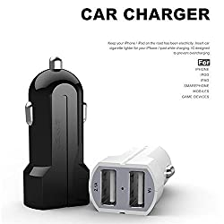 Compact Dual USB USAMS Car Charger Adapter (Black) 3.1Amp For Apple iPhone 6 6Plus iPhone 5 5S Nokia Samsung S7 Edge Note 5 One Plus One Yureka Smartphones