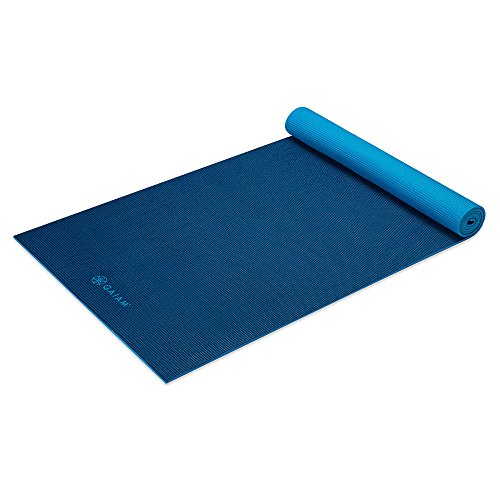 Gaiam Premium Solid Two-Sided Yoga Mat, Navy/Blue, 5mm