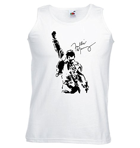 Art T-shirt, Canotta Freddy Mercury Queen, Uomo, Bianco, L
