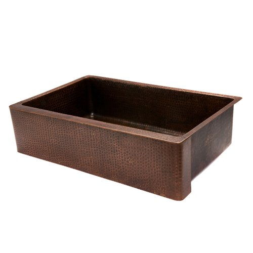 Premier Copper Products KASDB35229 35-Inch Copper Hammered Kitchen Apron Single Basin Sink, Oil Rubbed Bronze