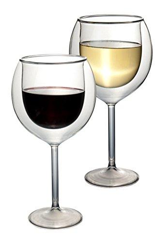 """2x 400ml """"doppelwandige"""" Wein-Gläser, Thermogläser mit Schwebeeffekt für die richtige Temperatur - auch für Bowle und Cocktails oder als Geschenk geeignet - Feelino Weinglas und Weingläser"""