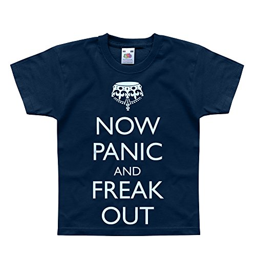 Nutees Now Panic And Freak Out Zombies Unisex Kids T Shirts - Navy 3/4 Years