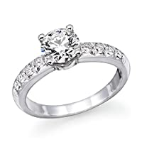 1.00cttw - 0.90cttw 14K White Gold Round Cut Diamond Engagement Ring (J-K Color, I1-I2 Clarity) from Natural Diamond