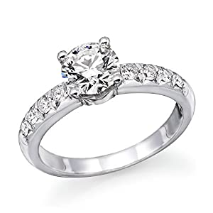 1.00cttw - 0.90cttw14K White Gold Round Cut Diamond Engagement Ring (J-K Color, I1-I2 Clarity) from Natural Diamond