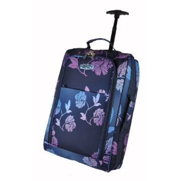Frenzy®, Fading Flower Pattern, Lightweight Cabin Size Carry on Wheeled Trolley Luggage Holdall, fits 55x 40 x20cm ryan air/easy jet - Dimension 55x36x23cm, 42L capacity (Black)