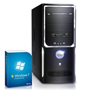 Silent office PC! CSL Sprint 5231uPro incl. Windows 7 Professional - dual core computer system with AMD Athlon A4-5300 APU 2x 3400 MHz, 500GB HDD, 4GB DDR3 RAM, Radeon HD 7480 - For reliable usage