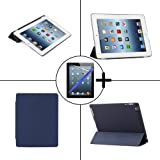 TeckNet® New Apple iPad 4 & iPad 3 (with Retina Display) Smart Case - Front & Back Full Protection Smart Cover with Magnetic Auto Wake Sleep Function - Includes screen protector and stylus pen, Detachable Back cover compatible with Official Apple Smart Cover (Dark Blue)