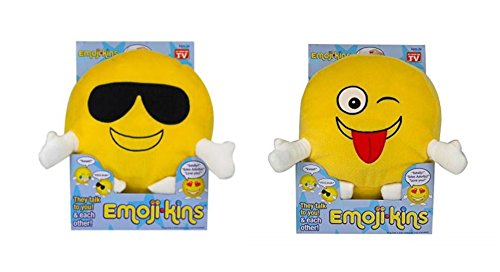 Emojikins Cool Cat Talking & Winky Pillows with Lights Emoji Pillow 2 Piece Set Stuffed Pillows Faces Round Kids Plush Soft Toy Toddlers Teens Emojies Expressions 2 (Cute Homemade Ladybug Costumes)