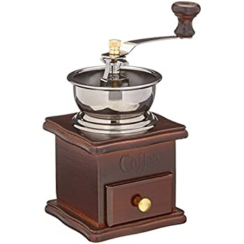 ReaLegend Wooden Manual Coffee Grinder Vintage Style Hand Coffee Mill Burr Coffee Grinder with Ceramic Hand Crank