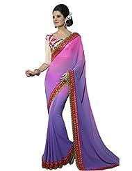 Designer Adorable Purple Border Worked Faux Georgette Saree By Triveni