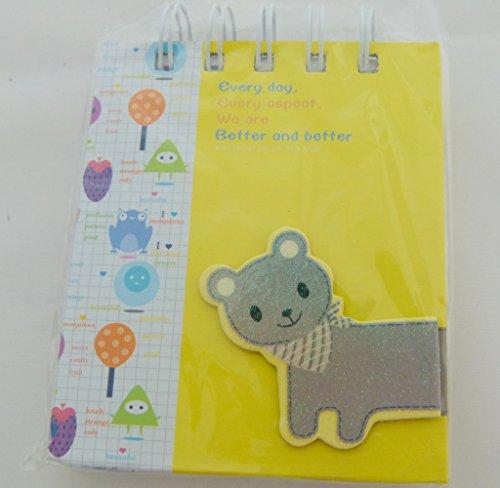Kawaii Katze Gestanzte Schmuck Cover Design - Spiral Bound Kleine Notizbuch - Graue Katze Gelb Notizbuch