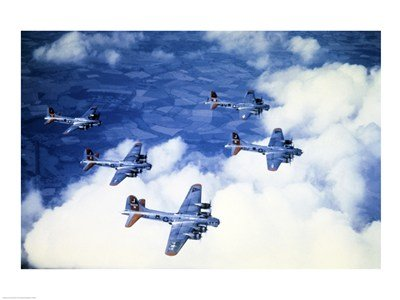 High angle view of fighter planes in flight, B-17 Flying Fortress, Eighth Air Force, World War II, England Art Poster PRINT Unknown 24x18