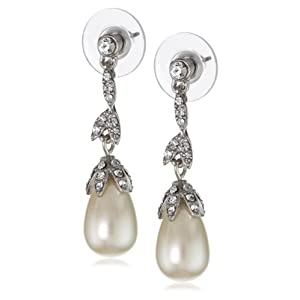 "Click to buy Carolee ""Pearl and Crystal Basics"" Linear Floral Teardrop Earrings from Amazon!"