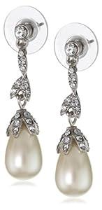 "Carolee ""Pearl and Crystal Basics"" Linear Floral Tear Drop Earrings"