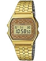 Casio - Vintage - A159WGEA-9AEF - Montre Homme - Quartz Digital - Cadran Multicolore - Bracelet Acier Doré