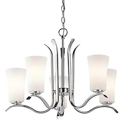 Kichler Lighting 43074CH Armida 5-Light Chandelier with Satin Etched White Glass, Chrome Finish