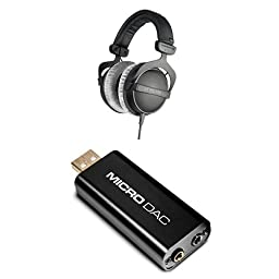 Beyerdynamic DT 770 Pro 80 ohm Studio Headphones Bundle with M-Audio Micro DAC USB Digital to Analog Converter with 16bit/48kHz Resolution