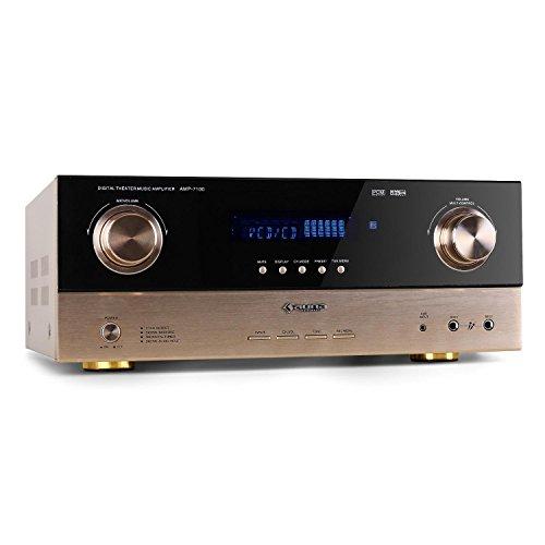 Auna AMP-7100 Amplificatore audio surround 7.1 finale di potenza Hi-Fi (2 x 130 Watt RMS + 5 x 50 Watt RMS, audio ottico e coassiale, ricevitore radio, RCA, AUX)