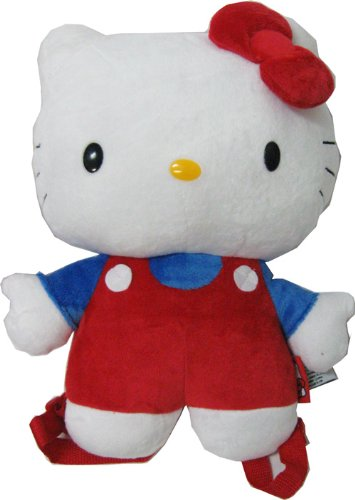 Hello Kitty In Overalls Plush Figure Backpack Buddy (Red/Blue)