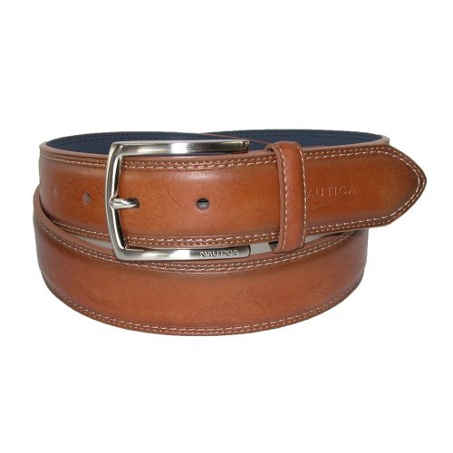 Nautica Mens Leather Feather Edge with Stitch Detail 1 3/8 Inch Belt, 38, Cognac