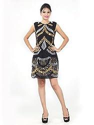Sakhee Women's Cocktail Tunic Dress (1030_Black_XXXXX-Large)