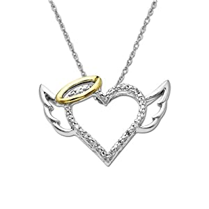 Sterling Silver and 14k Yellow Gold Diamond Winged Halo Heart Pendant (.04cttw, I-J Color, I2-I3 Clarity), 18""