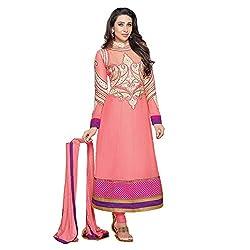 Parabdhani Fashion Women's Georgette Semi Stitched Suit (PBF_DM_17_Peach_Free Size)