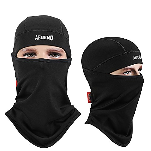 Aegend Balaclava Ski Face Mask with Fleece for Women Men Kids Tactical Balaclava Hood for Motorcycle Snowboard Cycling Outdoor Sports in Winter Neck Warmer or Lightweight Windproof Hat-Black, 1 Piece (Hood And Mask compare prices)