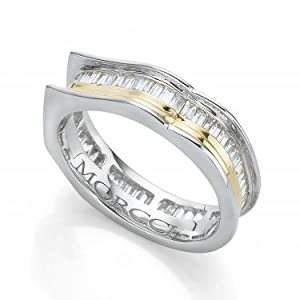 Morcci Designer Ring Womens 14K White Gold 1ctw Baguette Diamond Ring - Size 7