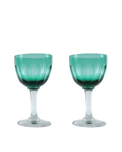 Pair of French Teal Cordial Glasses