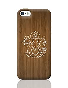 PosterGuy iPhone 5 / iPhone 5S Case Cover - White Hand Drawn Ganesha with Wooden Background | Designed by: Codeburnerz Technologies