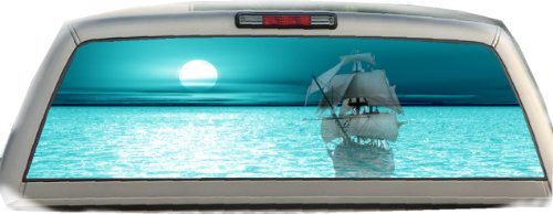 Ghost Ship- Turquoise- 22 Inches-by-65 Inches- Rear Window Graphics (Buccaneers Window Graphics compare prices)