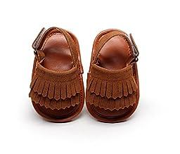 DESDEMONA Toddler Kids Unisex Indoor White Double Tassels Soft Sole Leather Baby Pre-walker Sandals (S, Brown)