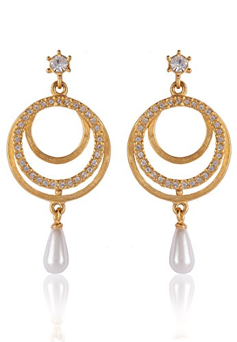 Estelle Estelle Gold Plated Danglig Earring With Pearl For Women (Yellow)