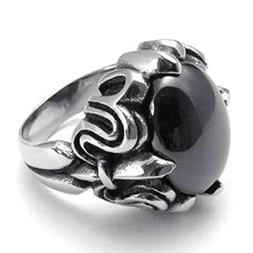 Alimab in acciaio inossidabile con anelli ovali in stile gotico, colore: nero, da uomo a forma di artigli di drago, Acciaio inossidabile, 22, colore: Argento nero, cod. majizhiyo1225