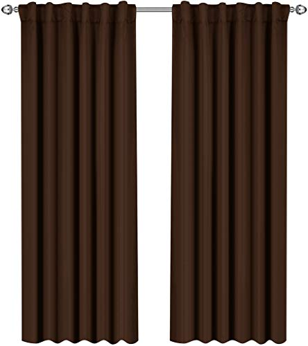 Utopia Bedding Blackout Room Darkening and Thermal Insulating Window Curtains/Panels/Drapes - 2 Panels Set - 7 Back Loops per Panel - 2 Tie Backs Included (Chocolate, 52 x 84) (Pack of 10)