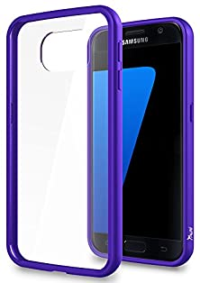 buy S7 Case, Tauri [Scratch Resistant] Crystal Clear Protective Case [Drop Protection] Hybrid Case Cover Shock Absorbent Tpu Bumper + Clear Back Panel For Samsung Galaxy S7 - Purple