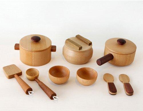 [木のおもちゃSoopsori]木製ままごと鍋セット