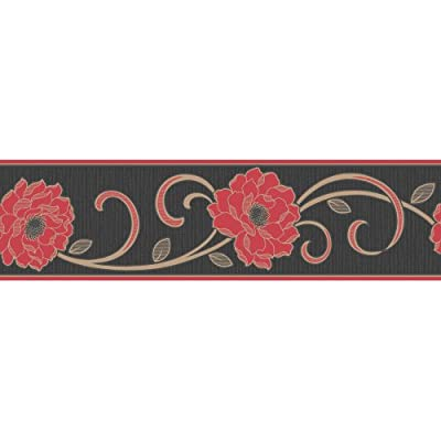 Fine Decor Florentina Wallpaper Border Red / Black / Gold by Fine Decor