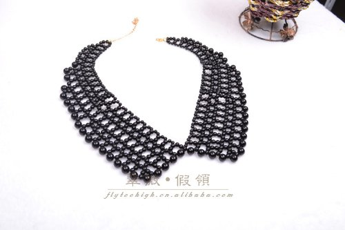Fashion Artificial Pearl Collar Necklace Beaded Fake Collar-black