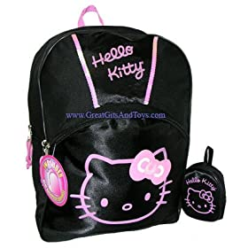 Hello Kitty Girls Black School Backpack Large