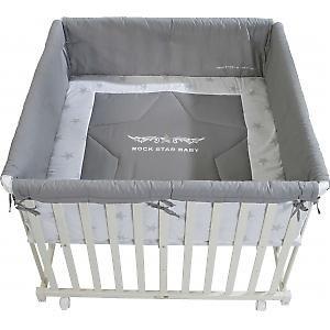 roba laufstall laufgitter rockstar baby 2 holz wei. Black Bedroom Furniture Sets. Home Design Ideas