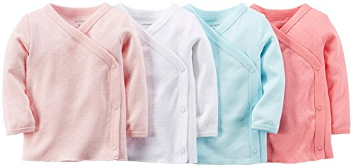 Carter's Baby Girls' 4 Pack Pointelle Side Snap Tees (Baby) - Pink - 6M